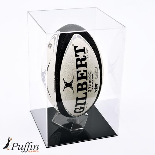 Deluxe Rugby Ball Display Case Colour Base