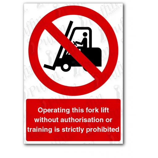 Operating This Fork Lift Sign