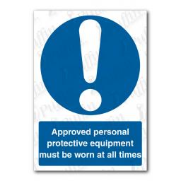 Approved Personal Protective Equipment Must Be Worn At All Times Sign