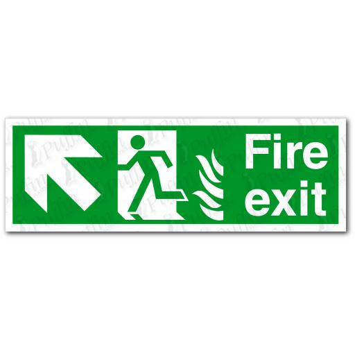 Fire Exit Up Left NHS Sign