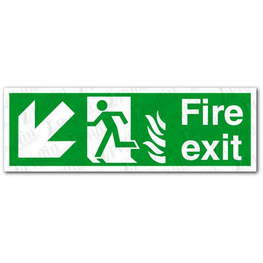Fire Exit Down Left NHS Sign