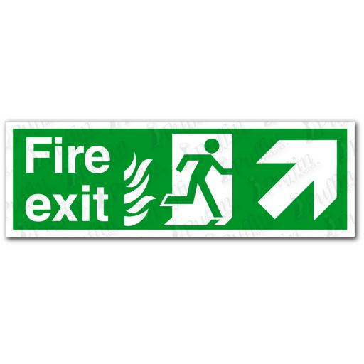 Fire Exit Up Right NHS Sign