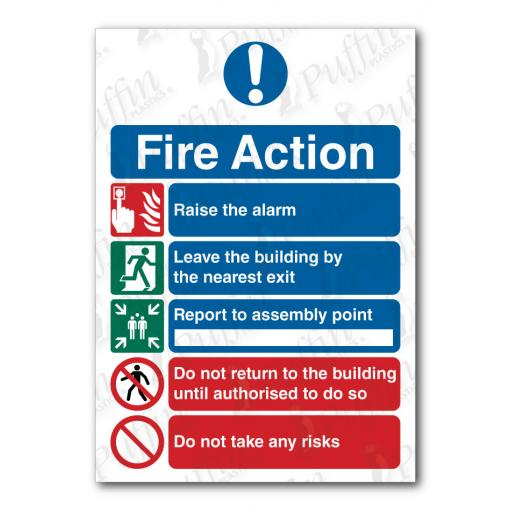 Fire Action Notice 5 Points Sign