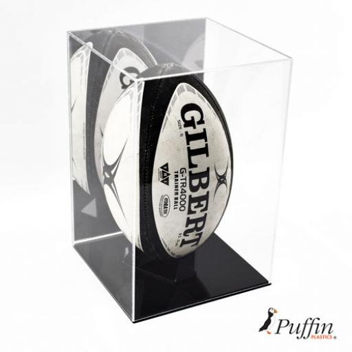 Deluxe Rugby Ball Display Case (With Mirror Back)