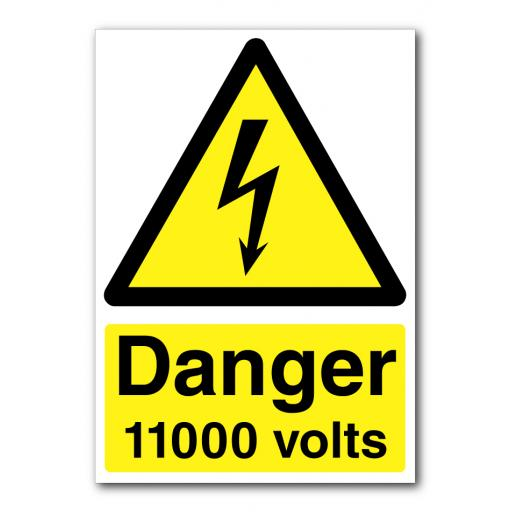 Danger 11000 Volts Sign
