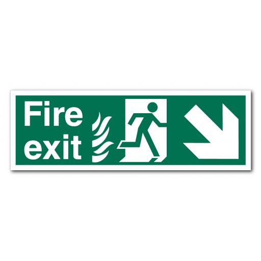 Fire Exit Down Right NHS Sign