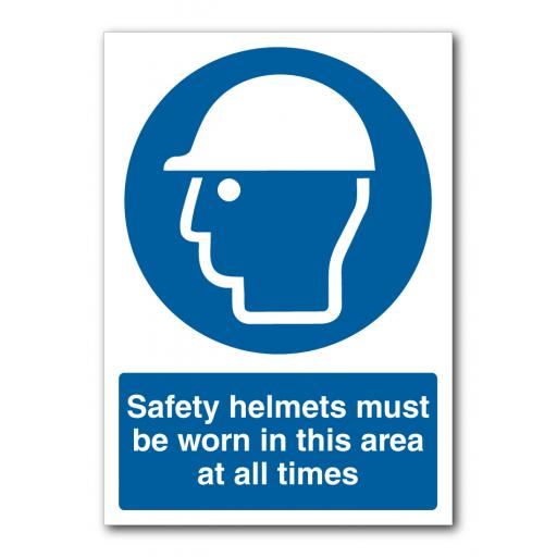 Safety Helmets Must Be Worn In This Area At All Times Sign