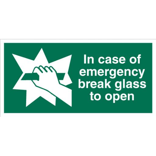 In Case Of Emergency Break Glass To Open Sign