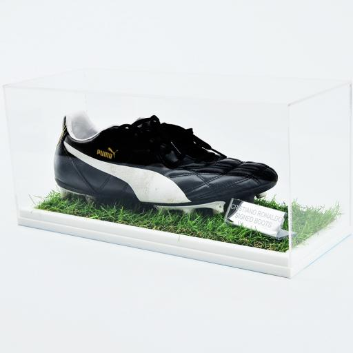 Football Boot Display Case Single - With Grass Effect Base