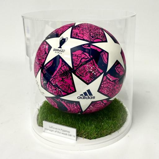 Cylindrical Football Display Case - Grass Effect Base