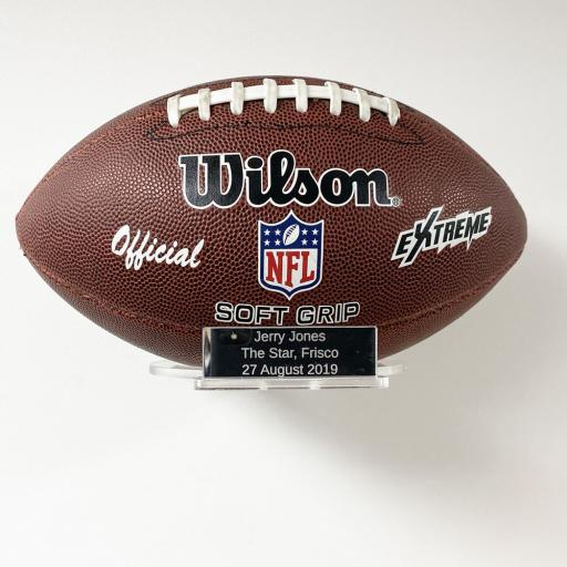 Landscape American Football Holder Wall Bracket - With Inscription