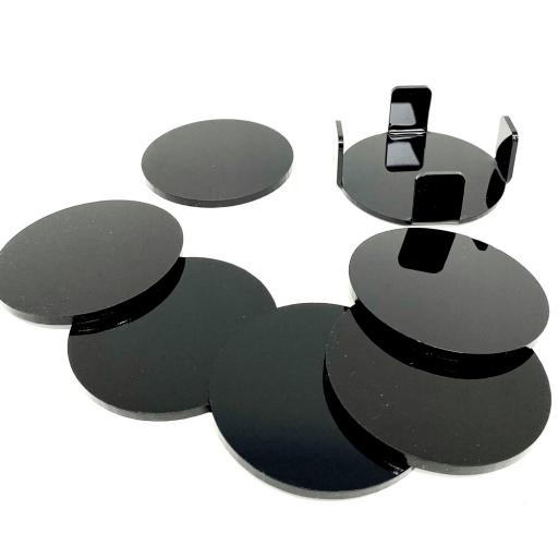 Black Coasters - 6 Pack