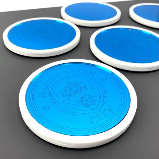 Manchester City Blue Mirror Inset Coasters - 6 Pack