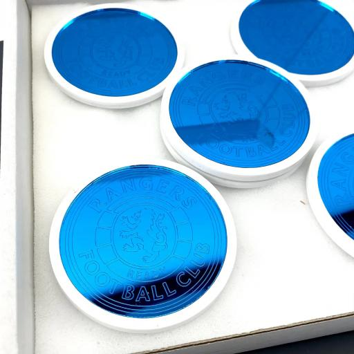 Rangers Blue Mirror Inset Coasters - 6 Pack