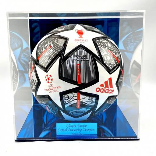 Football Display Case - Rangers Blue Mirror Case