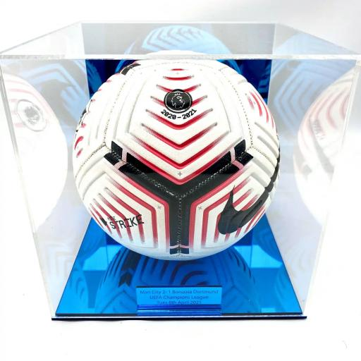 Football Display Case - Man City Blue Mirror Case