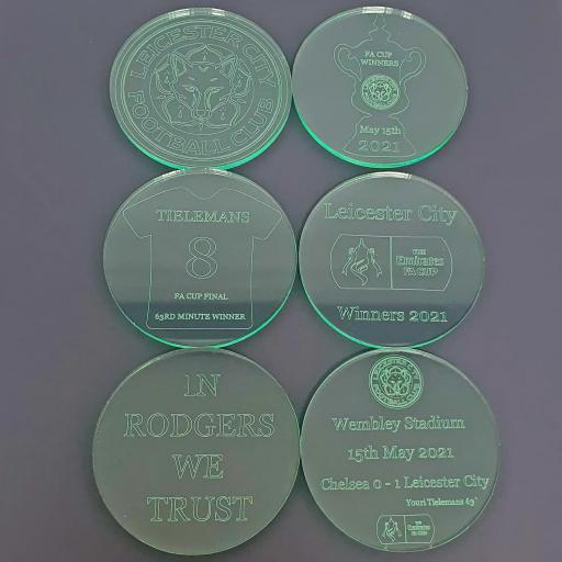 Leicester City FA Cup Winners - Glass Effect Coasters 6 Pack