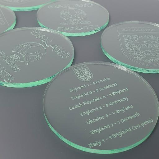 England Euro 2020 - Glass Effect Coasters 6 Pack